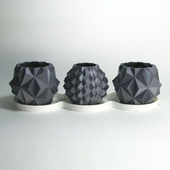 Sistema del regalo del plantador de la Geo, 3D Poly impreso, bajo, regalo Resumen Set, UFO Decor, plantador de la poligonal