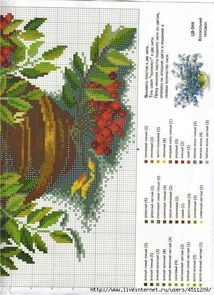 Cross-stitch Sunflowers, part 2...  with the color chart
