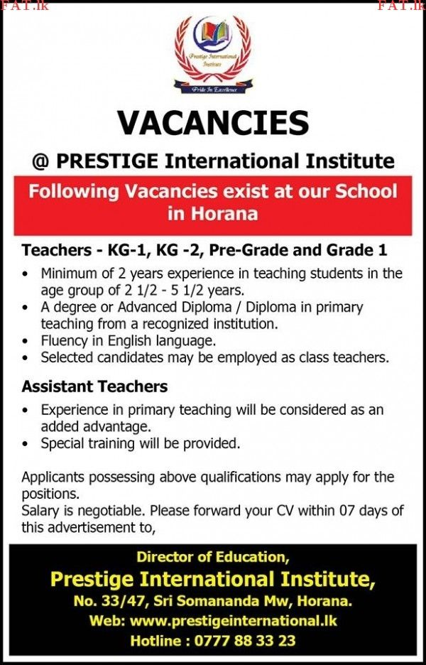 Vacancies at Prestige International Institute Horana