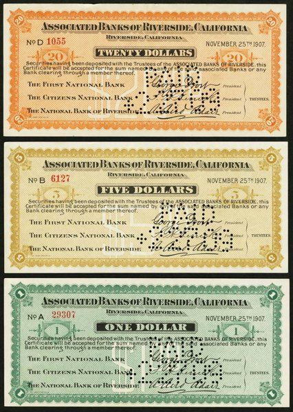 Riverside, CA- Associated Banks of Riverside $1; $5; $20 Nov. 25, 1907 Shafer CA-680-1b; 5b; 20b A Choice About Uncirculated, roulette cancelled trio from the Panic of 1907.