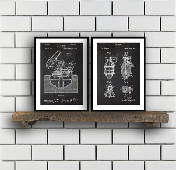 Military Patent Prints - Set of 2 - Grenade - Military Patent, Military Poster, Military Blueprint, Military art sp349 by STANLEYprintHOUSE  6.00 USD  These posters are printed using high quality archival inks, and will be of museum quality. Any of these posters will make a great affordable gift, or tie any room together.  Please choose between different sizes and colors.  These posters are shipped in mailing tubes via USPS First C ..  https://www.etsy.com/ca/listing/491959317/mili..