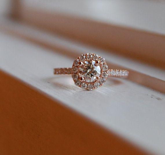 Champagne Diamond Ring 14k Rose Gold: 14K Rose, Rings Diamonds, Vs1 Champagne, Rings 14K, Champagne Diamonds Rings, Champagne Diamond Rings, Rings 0 7Ct, Rose Gold, Engagement Rings