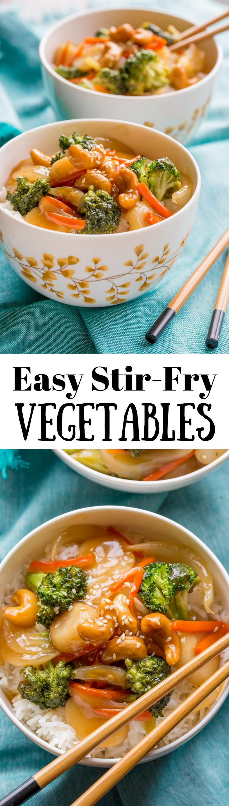 Easy Stir Fry Vegetables - who doesn't love a true 15 minute meal loaded with tender crisp broccoli, carrots, onions, and water chestnuts coated in a tangy, sweet sauce, then topped with cashews and served over a bowl of rice | www.savingdessert.com