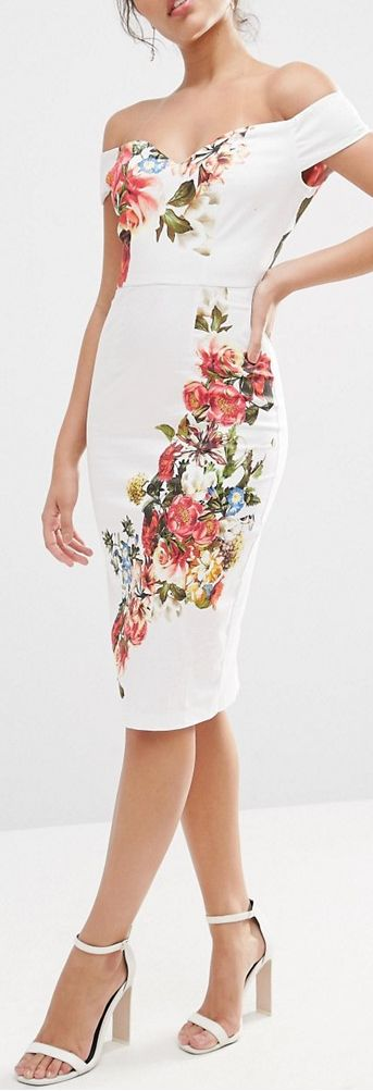 Bardot Off The Shoulder Hitchcock Midi Pencil Dress In Vintage Flowers
