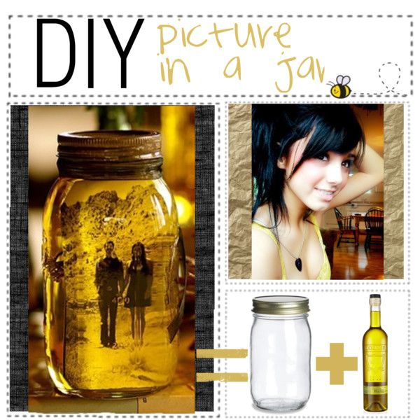 """DIY; picture in a jar You need; // A glass jar. // Olive oil. // A picture. 1// Put the picture in the jar. 2// Put olive oil in the jar. 3// Close the lid. And you're done! This make cute little gifts for friends and family!!"