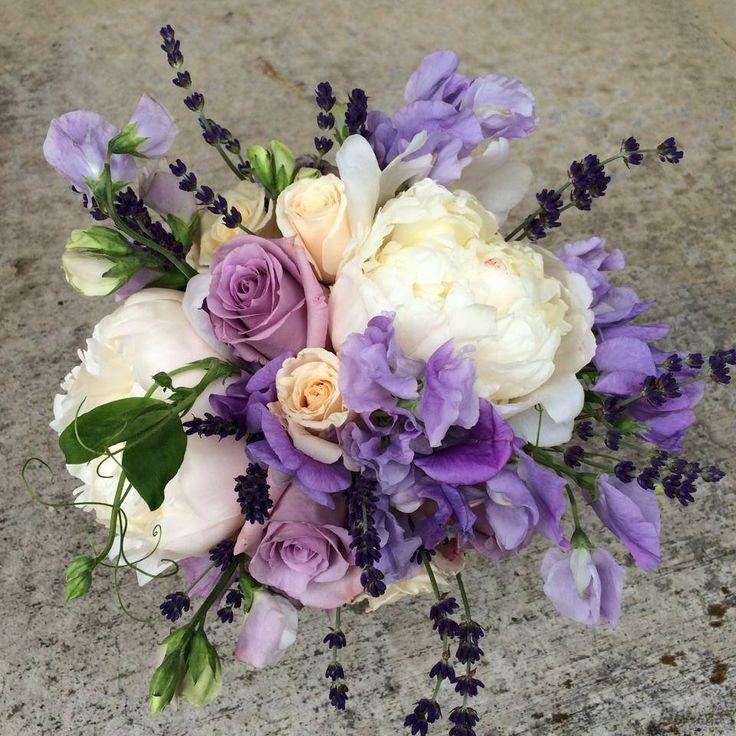 Bridesmaid Bouquet Bridal Party Flowers Ivory Lavender Blush Pink Peach Cream Wedding Spring