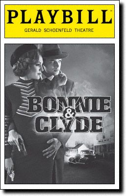 Playbill Cover for Bonnie & Clyde at Gerald Schoenfeld Theatre. Jeremy Jordan and Laura osnes