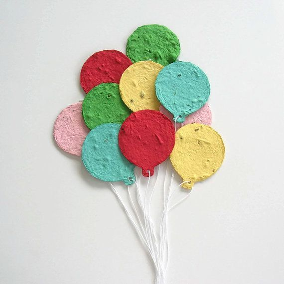 Kids birthday party favor, birthday decoration, graduation place card – Plantable paper balloons for a party with circus theme, party decoration