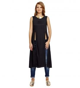 Jalebe trendy black tunic with double slit for women INDTJBS002