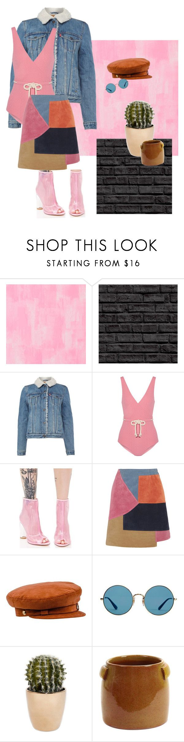 """""""Strawberries & cream"""" by lunar-delli ❤ liked on Polyvore featuring Designers Guild, Levi's, Lisa Marie Fernandez, Cape Robbin, M.i.h Jeans, Ray-Ban and Serax"""
