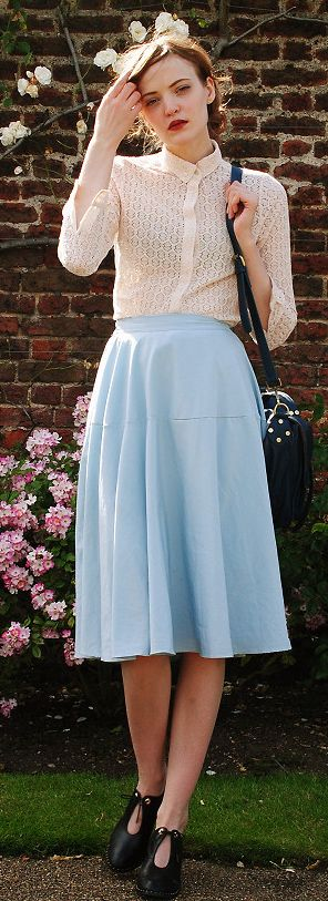 pastel blue skirt.
