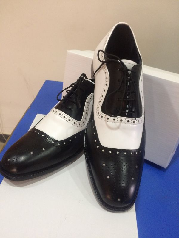 Handmade Two tone brogue leather shoes, Men black and white lace up formal shoes - Dress/Formal
