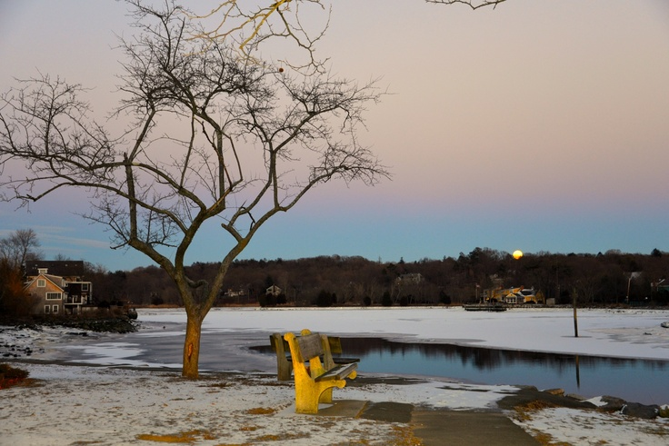 A good spot to watch the full moon rise today was along Westport's Riverside Avenue.