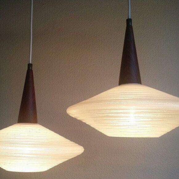 Set of 2 Philips HOLLAND Pendant lights glass & wenge wood 50s - 60s