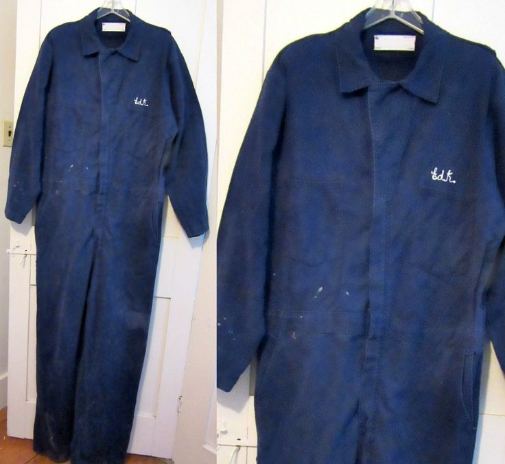 Coveralls - Mens Large - XL - Navy Blue - Cotton - Work Clothes - Costume - Mechanic Coveralls by stateandmainvintage on Etsy