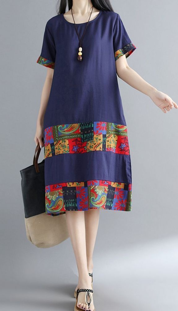 Women loose fit flower patchwork pocket short sleeve dress large size tunic chic
