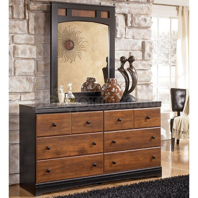 Ashley Aimwell Dresser with Mirror - With the rustic beauty of the warm brown finish enhancing the replicated cherry grain along with the deep black finish that features golden rub through accenting, the two-toned look of the Aimwell bedroom collection captures a vintage casual atmosphere to enhance any bedroom's decor.