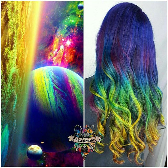 Full blown cosmic hair with rainbow ombre