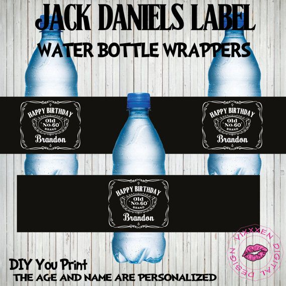 JACK DANIELS LABEL Birthday Water Bottle Wrappers Personalized other party supplies avaliable on Etsy, $9.00