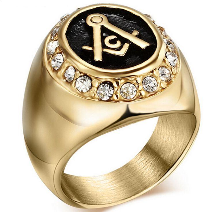 Tamaño 7-15 Chapado En Oro de Acero Inoxidable de Tono Negro Freemason Masonic Freemason Cubic Zircon Anillo de Sello para Caballero Templario