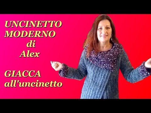 GIACCA CARDIGAN UNCINETTO CON COLLO tutorial tutte le taglie PARTE PRIMA - YouTube