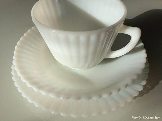MacBeth-Evans Petalware Monax white 1 trio tea set / 1 cup 1