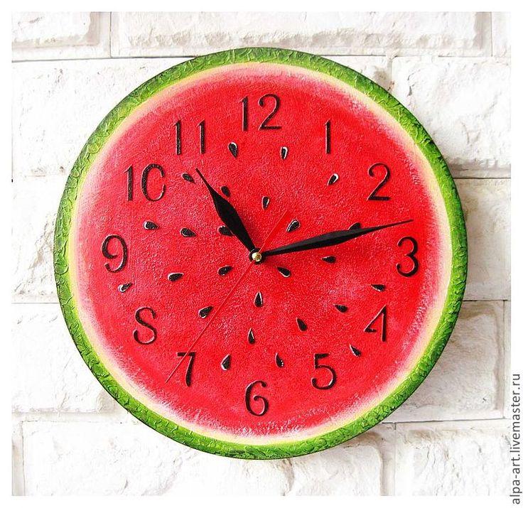 """Купить Часы расписные для кухни """"Арбуз"""" - часы интерьерные, часы необычные, часы…"""