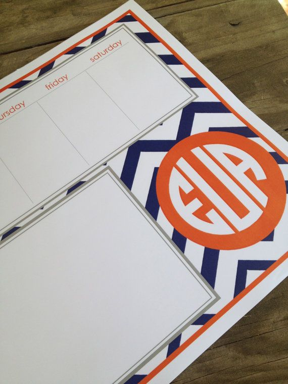 Chevron patterned custom padded weekly planner by Paperpetalsshop, $38.00