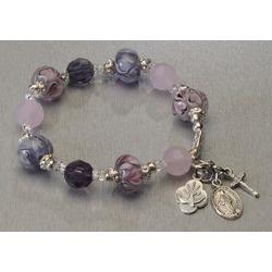 Hand-Blown Glass Pink & Purple Pandora-style Rosary Bracelet, $34.95. Brand new, hand-made in the USA. #CatholicCompany