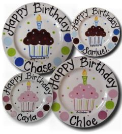 Birthday Plate!  I'm thinking diy project  for the kids own special cake plate!