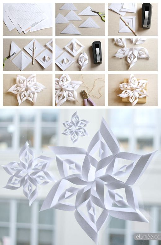 PAPER SNOWFLAKE TEMPLATES >I've made these with red and gold wrapping paper...