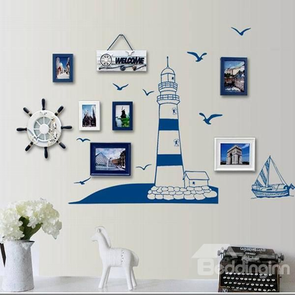 Fantastic Mediterranean Style Lighthouse and Seagulls Wall Sticker