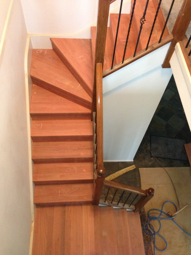Solid Grey Gum Treads And Risers Are Installed Over The Existing MDF  Staircase