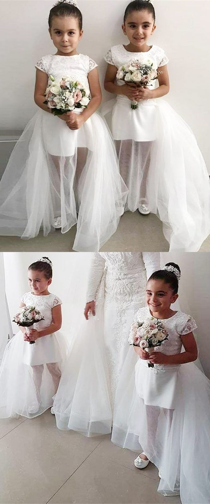 Sheath round neck cap sleeves flower girl dress with beading in