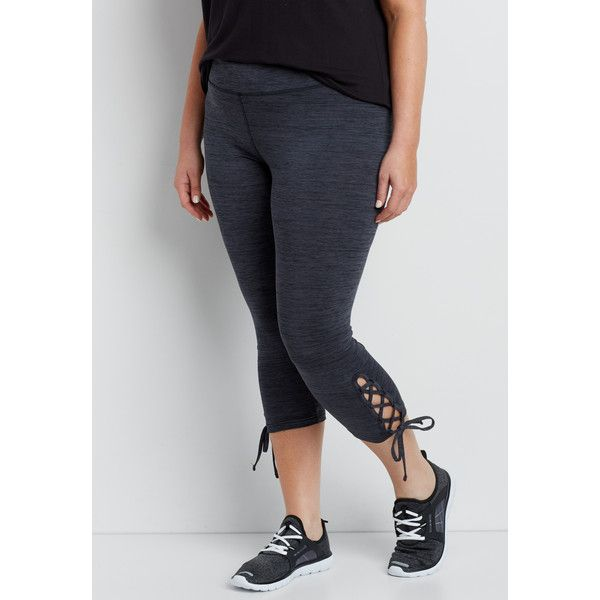 maurices Plus Size - Spacedye Capri Legging With Lace Up Bottom Hem,... ($34) ❤ liked on Polyvore featuring pants, leggings, plus size, lace up leggings, capri leggings, plus size leggings, womens plus size leggings and maurices
