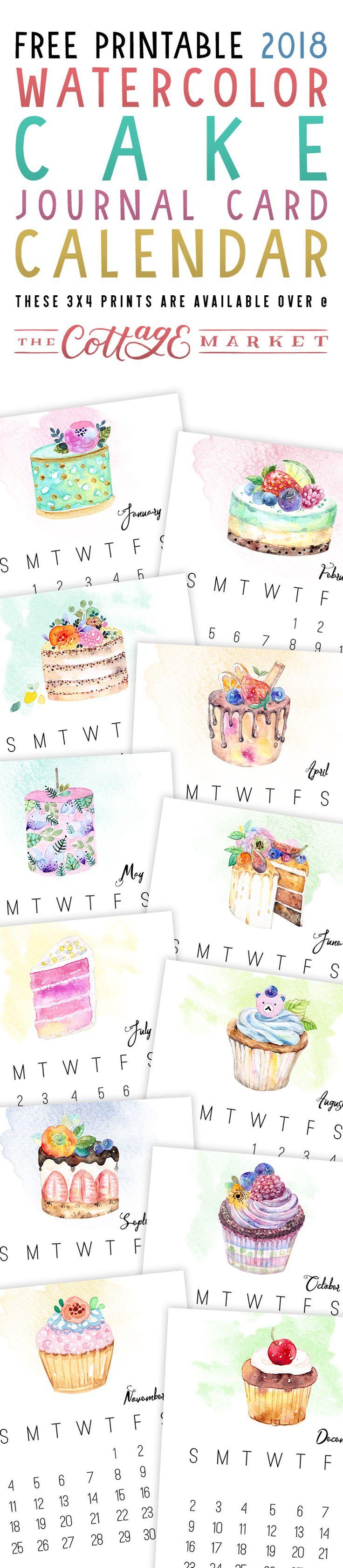 Free Printable 2018 Watercolor Cake Journal Card Calendar