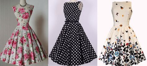 "Vestido vintage clásico. Tiene dos opciones para hacer la falda, de campana o fruncida como esta en el modelo de la imagen de las mariposas. Las tallas de los esquemas desde la 36 hasta la 46. [su_button url=""http://www.patronesmil.es/tabla-de-medidas"" target=""blank"" style=""stroked"" background=""#ef2d55″ size=""11″ center=""yes"" radius=""0″ icon=""icon: arrow-circle-right""]Tabla de medidas[/su_button]   Patrón vestido con cuello alto y …"