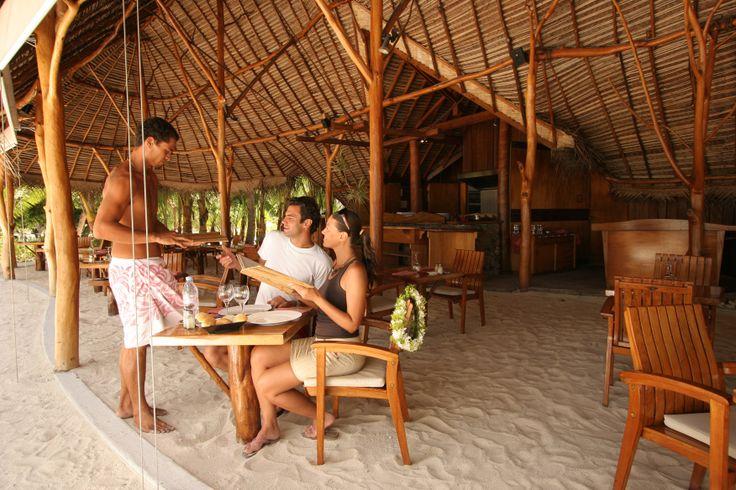 La Plage restaurant at Le Taha'a Island Resort & Spa in Tahaa, French Polynesia.