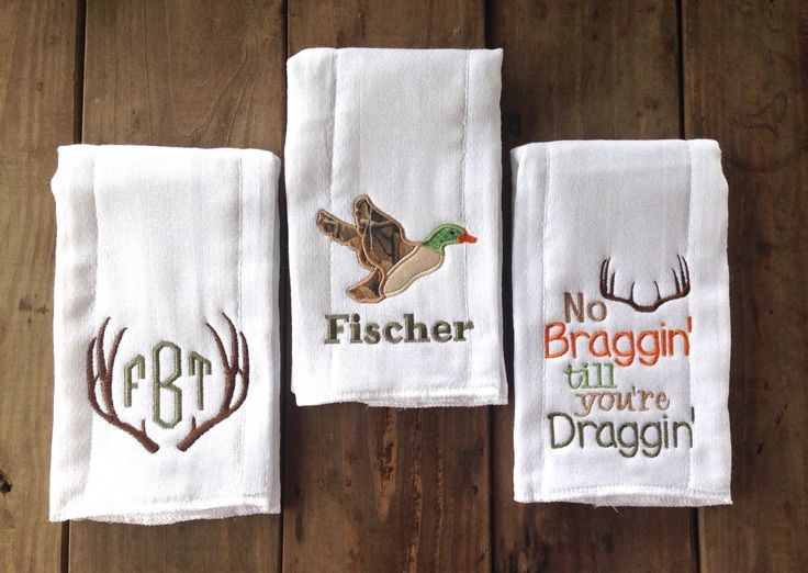 A personal favorite from my Etsy shop https://www.etsy.com/listing/245201216/set-of-three-monogrammed-burp-cloths