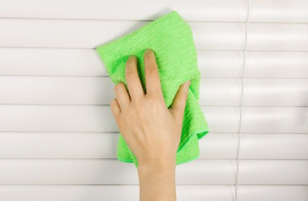 Vinegar for Blinds  If you have stains or spots on your blinds and dusting or a damp cloth doesn't get them out, then try some vinegar. Dab it onto a cloth and then rub down your blinds, although make sure that it won't hurt the material or remove any finishes.