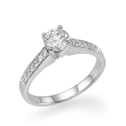 "0.85 carat H/SI1 Diamond Engagement Ring ""Pure and Classic"" White/Yellow gold  18k natural Diamond"