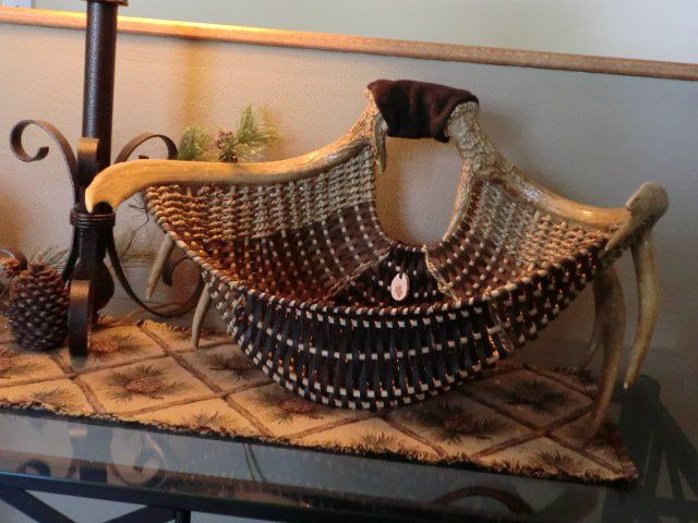 full rack with multi smoked reed and leather~by eileen meisner of pine lake baskets, wisconsin