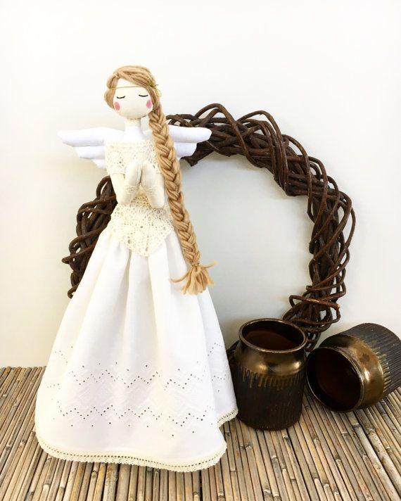 Angel Tilda Doll - Christmas Decoration - MADE TO ORDER - Angel Rag Doll - Fabric Doll - Cloth Doll - Babyshower Decoration - Silkwithcotton