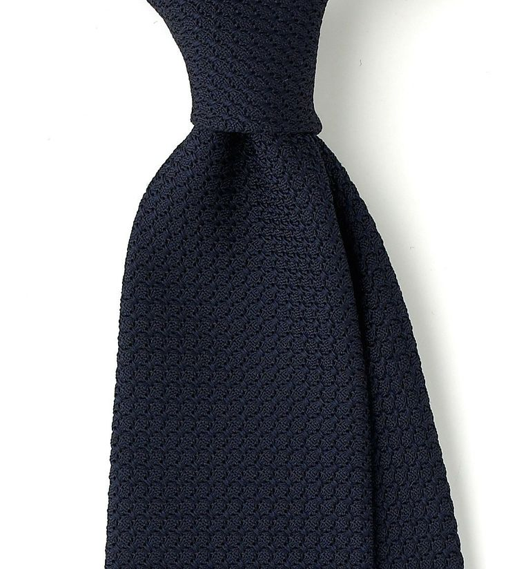 Untipped Woven Large Knot Grenadine Solid 8cm Silk Tie - View All - Ties - Online Shop - Drakes London