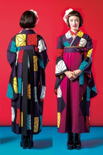 Two toned graphic hakama ensemble