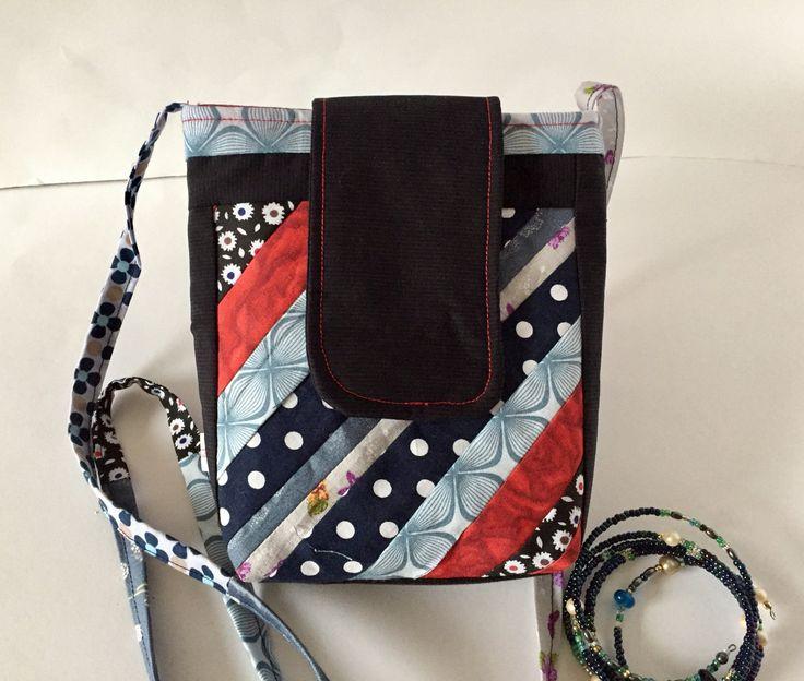 Umhängetasche klein Schultertasche Patchwork Handtasche bunt rot von madameLotta auf Etsy