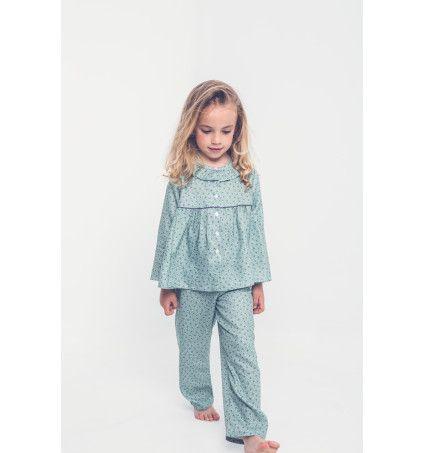 Pijama cuello bebé azul cinta burdeos