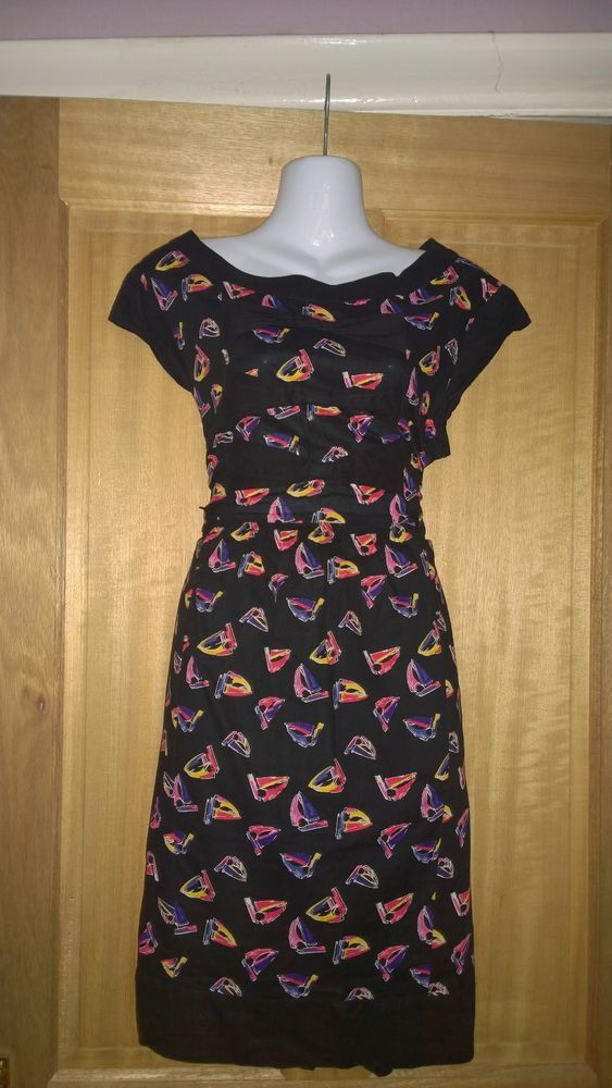 Only 99p. Next ladies cute black dress with multi-coloured boats & bows. Size 12