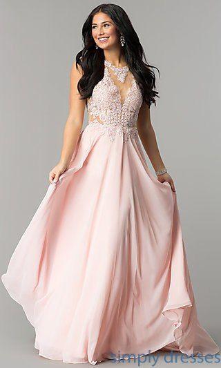 e33f265b3 Illusion Lace-Bodice Long Open-Back Prom Dress   clothes   Prom ...