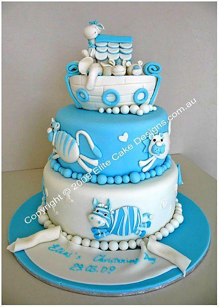 Noah's Ark Christening Cake Sydney, Christening Cakes, Christening Cake Designs, Communion Cakes, Baptism Cakes, Baby Christening Cake, NSW
